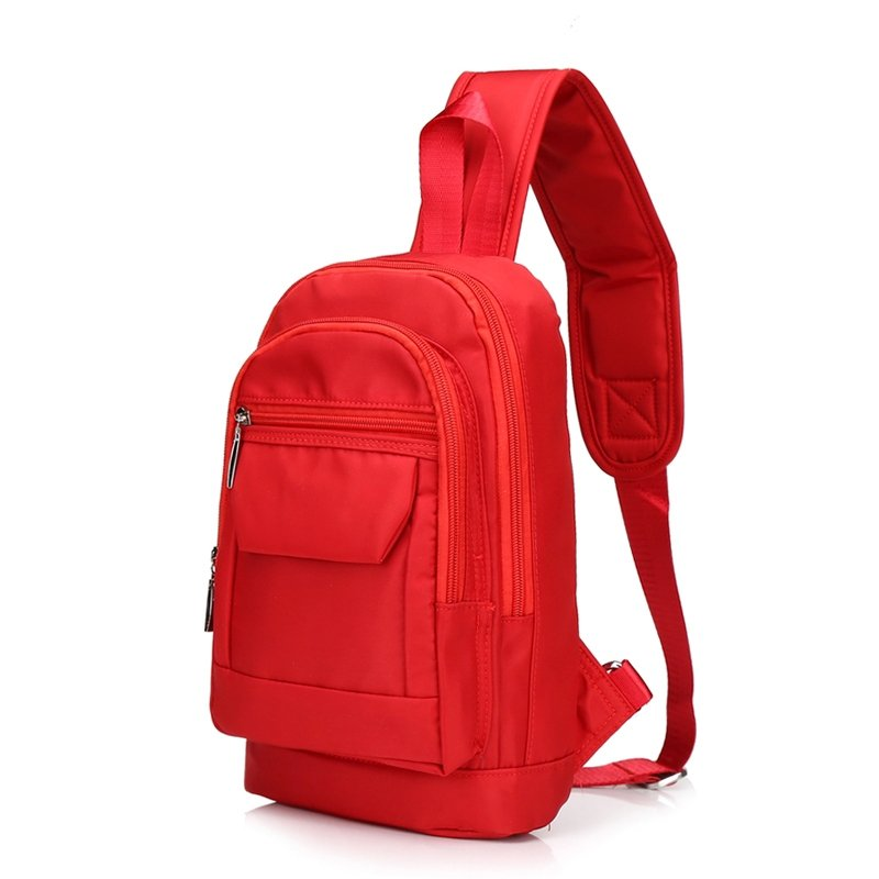 Durable Solid Red Oxford Elegant Lady Small Crossbody Shoulder Chest Bag Hipster Sewing Pattern Zipper Casual Travel Hiking Sling Backpack