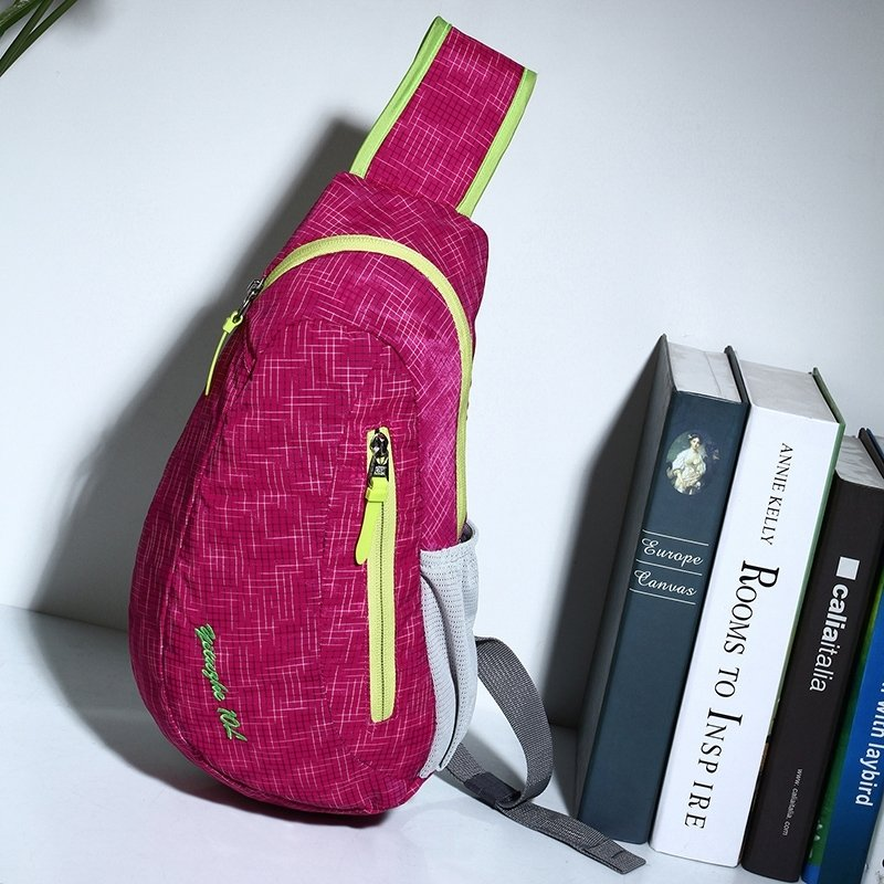 Raspberry Red Nylon with Yellow Trim Women Crossbody Shoulder Chest Bag Gorgeous Grid Plaid Print Travel Hiking Cycling Sling Backpack