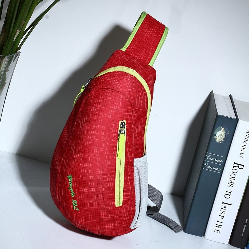 Red Nylon with Yellow Trim Women Crossbody Shoulder Chest Bag Hipster Grid Plaid Print Sewing Pattern Casual Travel Sling Backpack