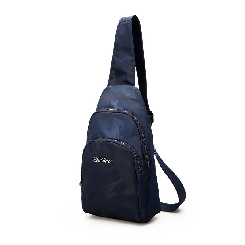 Personalized Dusty Blue Oxford Men Small Crossbody Shoulder Chest Bag Military Camouflage Print Travel Hiking Cycling Sling Backpack