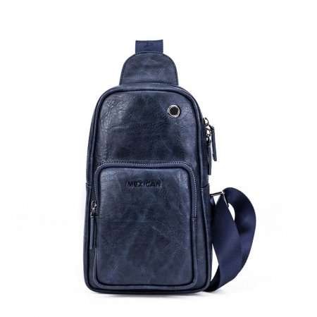 Dusty Blue Distressed Waxed Leather Men Crossbody Shoulder Chest Bag Vintage Sewing Pattern Travel Hiking Cycling Sling Backpack