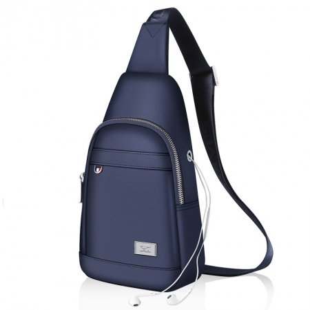 Sturdy Dark Blue Waterproof Oxford Men Large Crossbody Shoulder Chest Bag Vintage Sewing Pattern Sequin Travel Hiking Cycling Sling Backpack