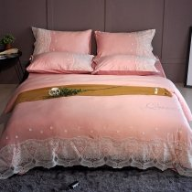 Romantic Shabby Chic Coral Pink and White Applique Flower Vintage Lace Sophisticated Elegant Girls Full, Queen Size Bedding Sets