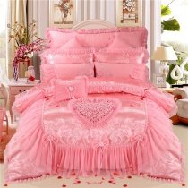 Sequin Pink Embroidered Rose Heart Noble Excellence Drop Ruffle Lace Princess Girls Jacquard Satin Full, Queen Size Bedding Sets