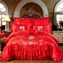 Romantic Red Embroidered Rose Vintage Shabby Chic Victorian Lace Ruffle Luxury Jacquard Satin Full, Queen Size Bedding Sets