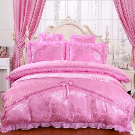 Vintage Shabby Chic Sparkle Pink Rose Victorian Lace Drop Ruffle Luxury Jacquard Satin Full, Queen Size Bedding Sets