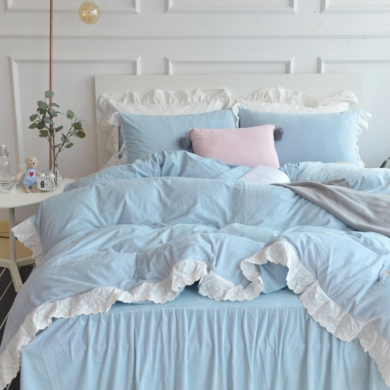 Noble Excellence Light Blue and White Romantic Simply Shabby Chic Ruched Feminine Soft Flannel Twin, Full, Queen Size Bedding Sets