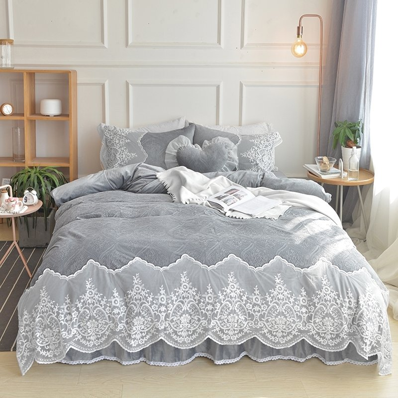 Sophisticated Elegant Slate Gray Bohemian Tribal Vintage Shabby Chic Attached Dust Ruffle Soft Flannel Full Queen Size Bedding Sets
