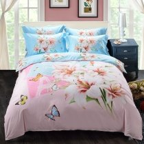Pastel Pale Pink Green White and Blue Asian Lily Butterfly Eiffel Tower Print French Paris Themed Girls Full, Queen Size Bedding Sets