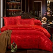 Noble Excellence Dark Red Dragon and Phoenix Pattern Chinese Wedding Themed Jacquard Satin Full, Queen Size Bedding Sets