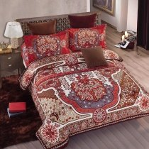 Red and Brown Indian Pattern Moroccan Themed Vintage Bohemian Style Shabby Chic Full, Queen Size Bedding Sets
