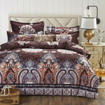 Vintage Coffee Brown Beige and Blue Indian Pattern Gypsy Themed Bohemian Style Shabby Chic Twin, Full Size Bedding Sets