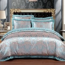 Classic Turquoise and Gold Victorian Gothic Pattern Shabby Chic Embroidered Full, Queen Size Bedding Sets