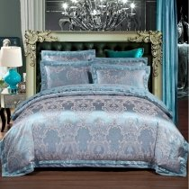 Steel Blue and Silver Vintage Gothic Pattern Western Bohemian Style Embroidered Full, Queen Size Bedding Sets
