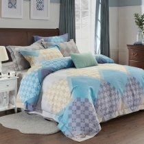 Hipster Aqua Blue Gray and Beige Geometric Pattern Patchwork Abstract Design Full, Queen Size Bedding Sets