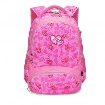Hot Pink Polyester Elegant Girly Girls Pupil School Book Bag Polka Dot Bow Heart Print Preppy Campus Backpack