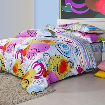 Light Blue Yellow and Purple Circle and Multicolor Stripe Print Full, Queen Size 100% Woven Cotton Bedding Sets