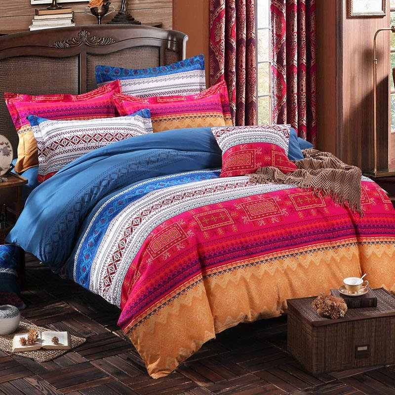 Blue Yellow and Pink Colorful Stripe and Bohemian Chic Tribal Print 100% Cotton Full, Queen Size Bedding Duvet Cover Sets