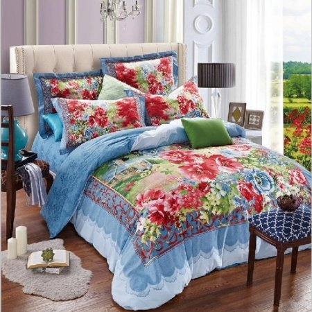 Blue Red and Green Southwestern French Country Chic Style Retro Secret Garden 100% Cotton Full, Queen Size Bedding Sets