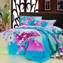 Blue and Purple Secret Butterfly Garden Beautiful Floral Plants 100% Cotton Full, Queen Size Bedding Sets