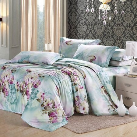 Green Purple and White Asian Inspired Garden Images Floral Print 100% Egyptian Cotton Full, Queen Size Bedding Sets