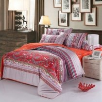 Orange and Beige Classic Modern Bohemian Southwestern Tribal Print 100% Egyptian Cotton Full, Queen Size Bedding Sets