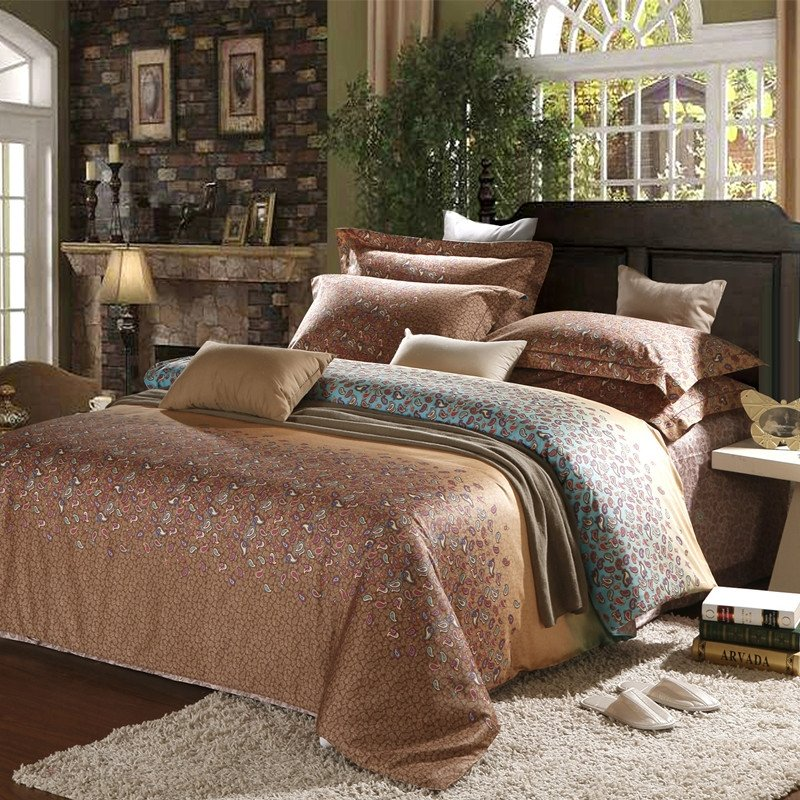 Brown Gorgeous and Shabby Chic Western Abstract Design 100% Egyptian Cotton Full, Queen Size Bedding Sets