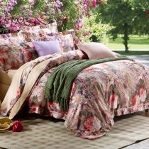 Tan Brown and Green Western Style Waverly Garden Images Flower Print 100% Egyptian Cotton Full, Queen Size Bedding Sets