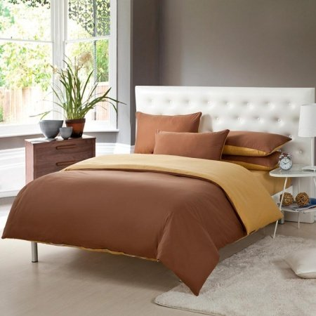 Chocolate Brown and Gold Solid Pure Colored Simply Chic Full, Queen Size Luxury Cotton Bedding Sets