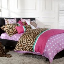 Watermelon Red Pink White and Brown Love Heart and Sexy Leopard, Cheetah Print Full, Queen Size Girls Princess Themed Bedding Sets