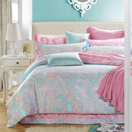 Luxurious Bohemian Style Paisley Park Print Softest and Durable Full, Queen Size Tencel Bedding Sets