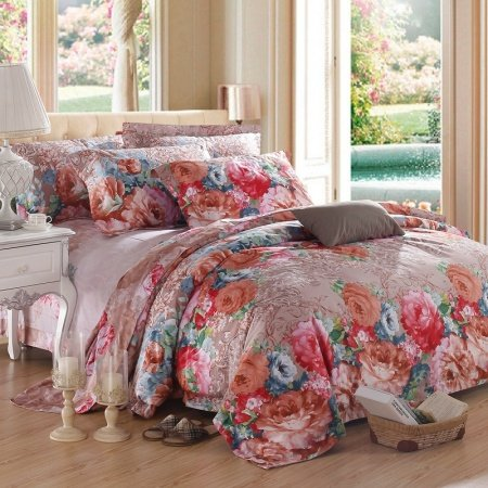 Red Pink Brown and Blue Asian Inspired Oriental Flower Garden Nature 100% Egyptian Cotton Full, Queen Size Bedding Sets