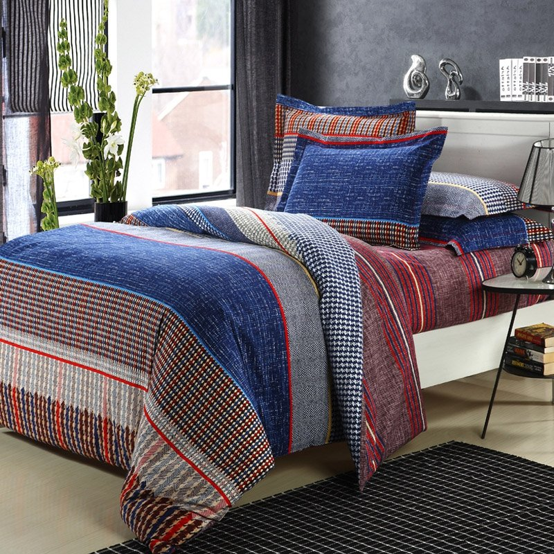 Blue Brown and Red Traditional College Dorm Room Checkered and Stripe Kids and Teen 100% Brushed Cotton Bedding Duvet Cover Sets