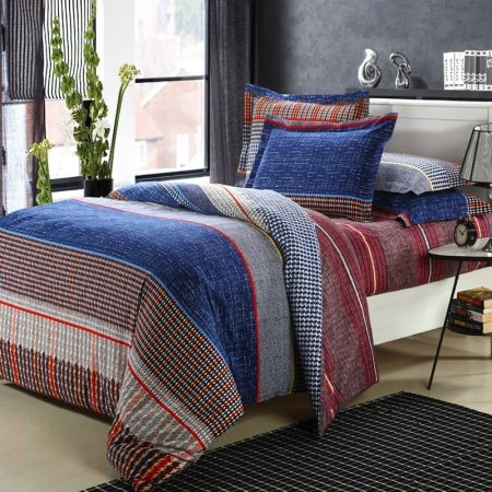 Blue Brown And Red Traditional College Dorm Room Checkered