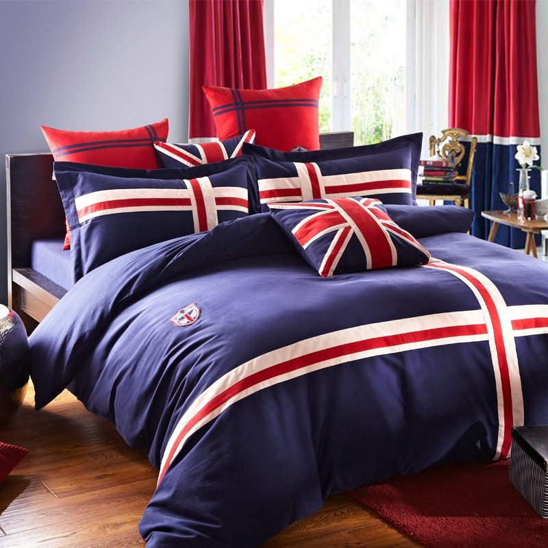 Navy Blue White and Red The British Flag Print 100% Cotton Satin Full, Queen Size Bedding Sets