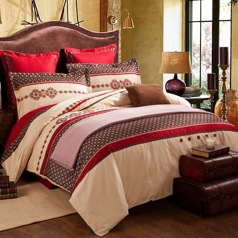 Red Brown and Beige Gingham Plaid Tribal Print Indian Pattern Abstract 100% Cotton Full, Queen Size Bedding Sets