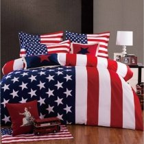 Navy Blue Red and White Personalized American Flag the Stars and the Stripes Print Full, Queen Size Bedding Sets