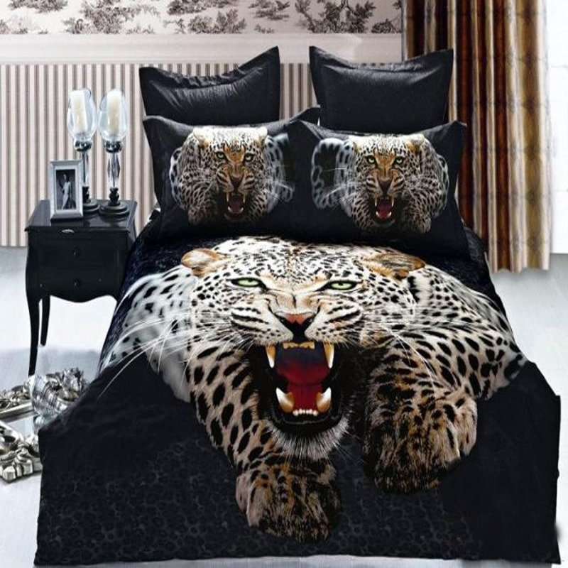 Black and Coffee Brown Classic Cute Snow Leopard Print Jungle Animal Themed Kids 3D Design Full Size Bedding Sets