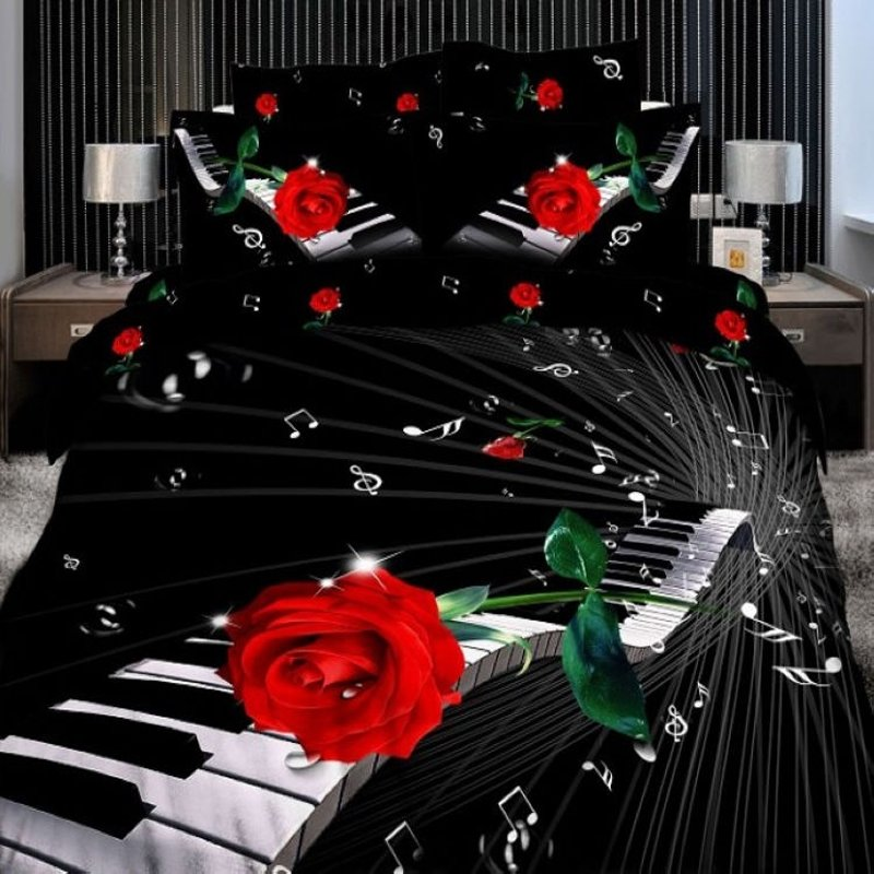 Black White and Red Rose Pattern Unique Music Themed Notes and Piano Print Girls 3D Design Full Size Bedding Sets
