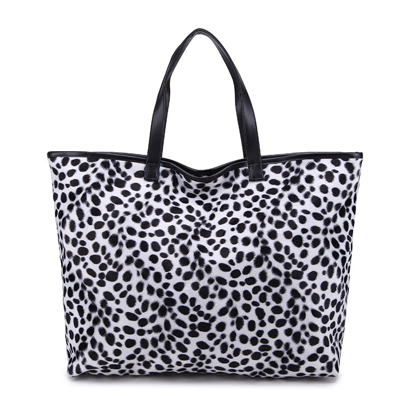 Black and White Leopard Print Luxury Velvet Tote Bag Boutique Personalized Japanese Style Zipper Casual Women Large Shoulder Purse