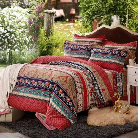 Venetian Red Navy Blue and Brown Vintage Tribal Flower Baroque Style Southwestern 100% Brushed Cotton Full, Queen Size Bedding Sets
