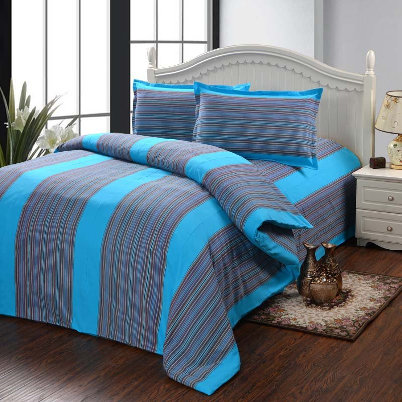 Peacock Blue and Gray Vertical Stripe and Pinstripe Print Exotic 100% Cotton Satin Full, Queen Size Bedding Sets