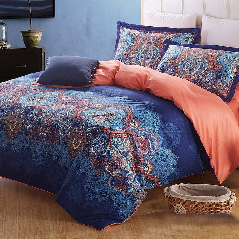 Cobalt Blue Coral and Brown Indian Pattern Moroccan Themed Western Style Exotic Bohemian Chic 100% Cotton Full, Queen Size Bedding Sets