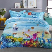 Ocean Blue Tropical Marine Life Bright Colorful Undersea World Fish and Coral Reef Print Girls, Boys 100% Cotton Twin, Full Size Bedding Sets