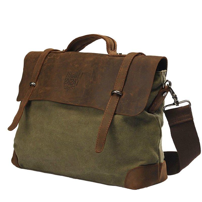 Coyote Brown and Army Green Canvas Leather Vintage Vogue Messenger Bag Korean Style Luxury Trendy Amazing Zipper Men Medium Crossbody Bag