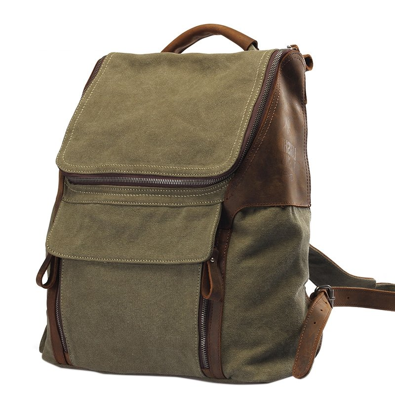 Olive Green Canvas Trendy Korean Preppy Style Satchel Contracted Durable Casual Travel Bag Zipper Hasp Boy Medium Bucket School Backpack
