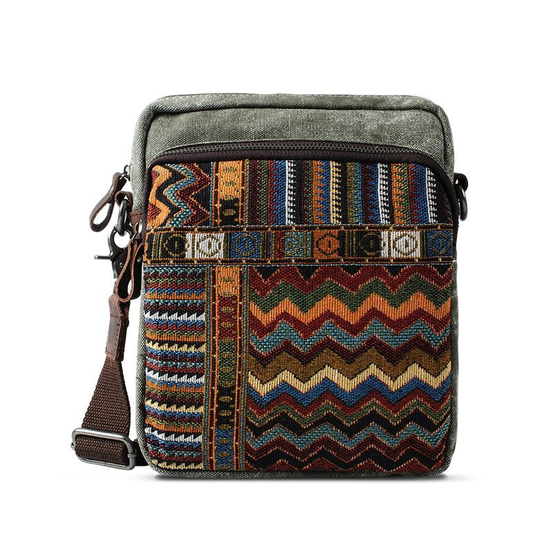 Colorful Durable Canvas Aztec Chevron Stripe Trendy Retro Gypsy BOHO Style One Shoulder Bag Zipper Sewing Pattern Men Small Crossbody Bag
