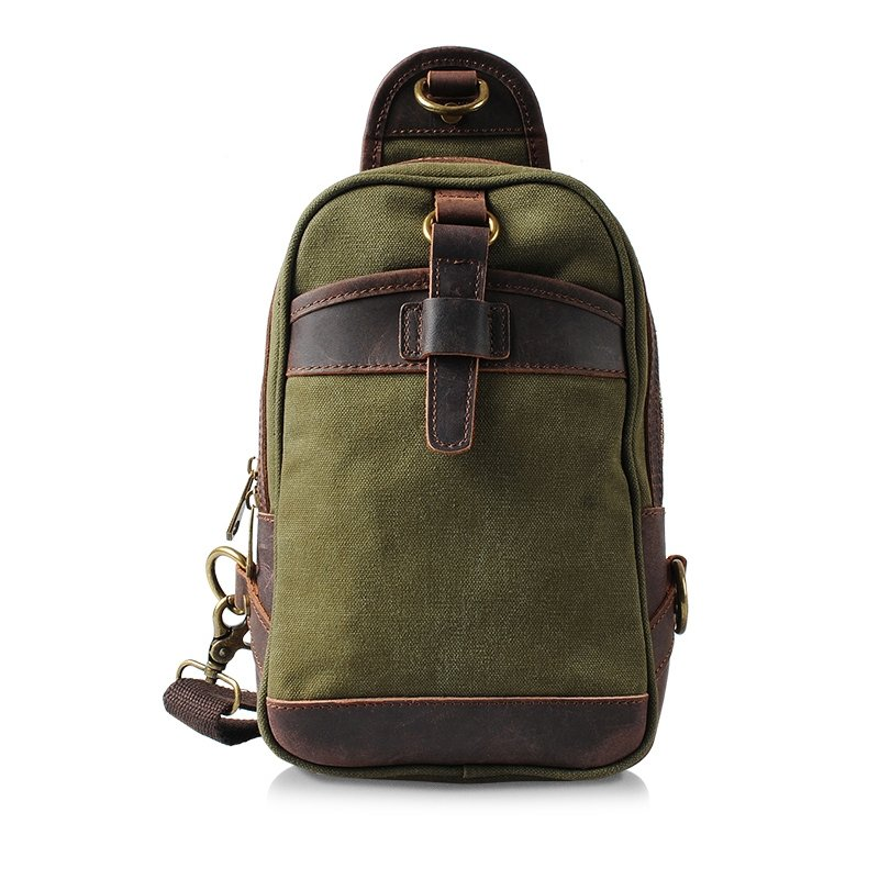 Olive and Brown Durable Canvas Leather Men Chest Bag Unique England Style Vintage Color Blocking Small Sewing Pattern Zipper Crossbody Bag