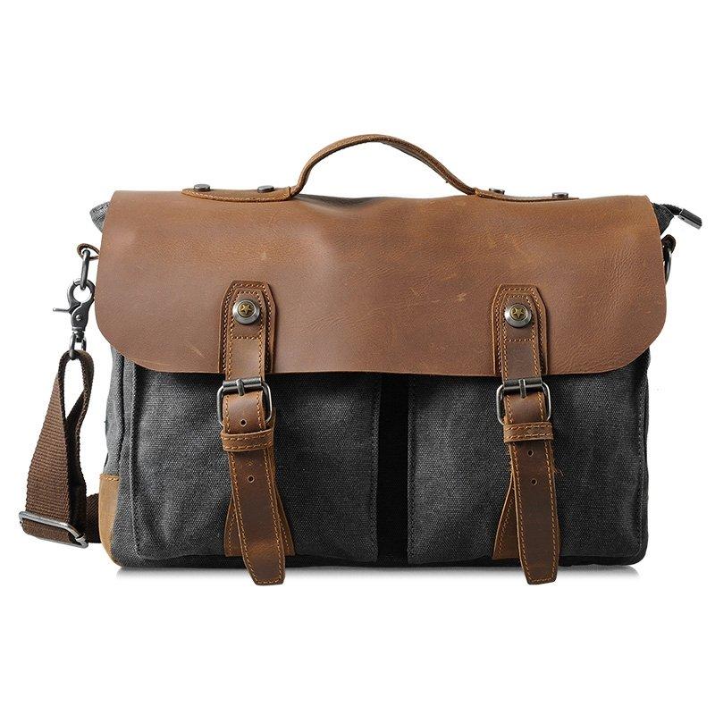 Dark Gray Bronze Vintage Leather Canvas 13 Inch Laptop Bag Casual Vogue American Casual Crossbody Bag Zipper Hasp Men Medium Messenger Bag
