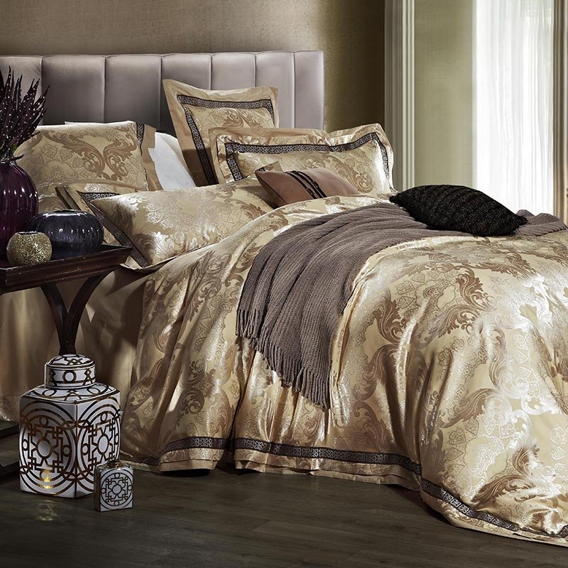 Gold and Yellow Classic Tribal Print Royal Style Jacquard Design Luxury and Noble Excellence 100% Cotton Satin Full, Queen Size Bedding Sets